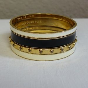 4 Kate Spade Bangles Black Ivory Tickle the Ivorie
